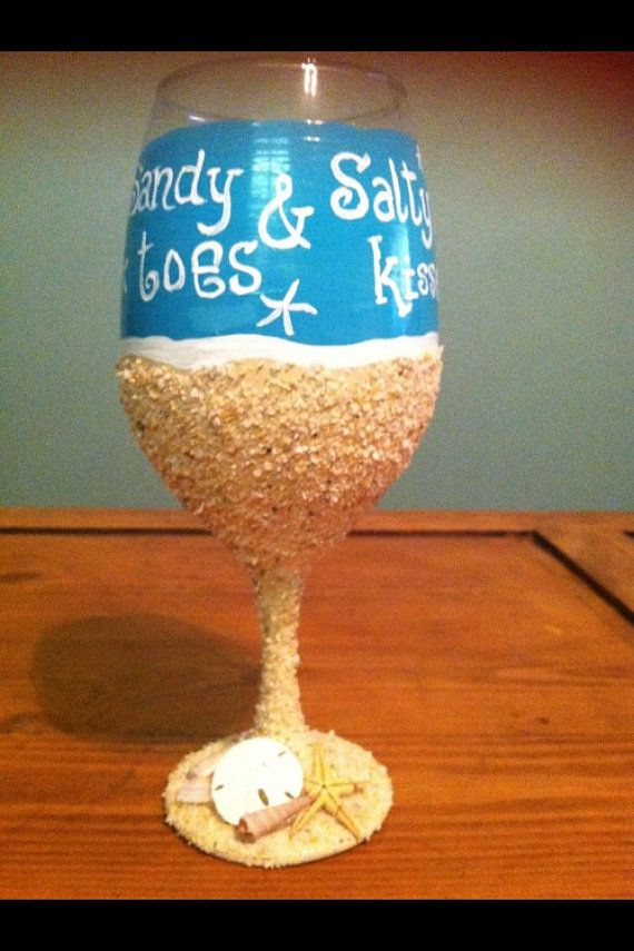 Sandy toes and Salty kisses beach wine glass, painted wine glass with beach sand, Beach gifts,  Beach wine glasses