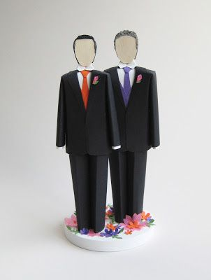 Concarta: Paper sculpture cake toppers for weddings, anniversaries and events: Two Grooms