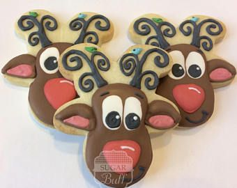 Rudolph Cookies One Dozen Decorated Rudolph The Red Nosed Reindeer Christmas Sugar Coo Rudolph Cookies Christmas Cookies Decorated Reindeer Cookies Decorated