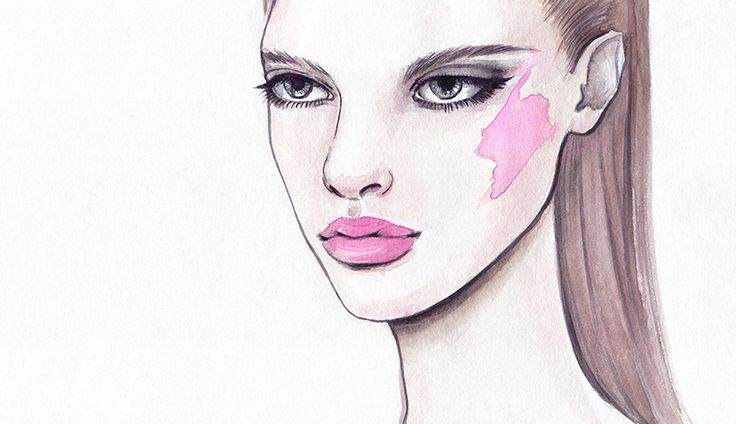 watercolor illustration of a fashion model with freaky makeup with pink cheeks and lips.