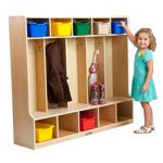 ECR4Kids – 5 Section Coat Locker with Bench