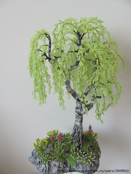 weeping willow tree made of beads for Grandma's new Fairy Garden