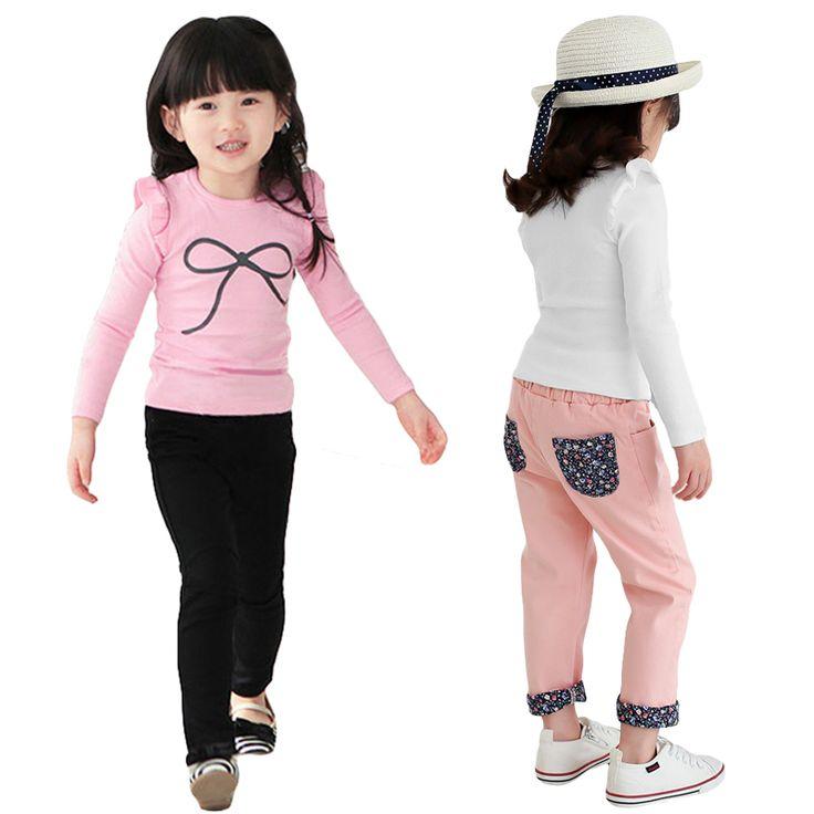 Весна осень дети футболки рюшами длинный рукав девушки одежду тонкий ти топ с бантом печать девочка блузка свободного покроя хлопок девушки майкакупить в магазине Five Star Outlet наAliExpress