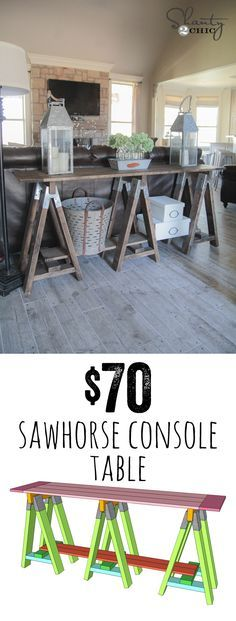 diy sawhorse console table - Cheap Console Tables