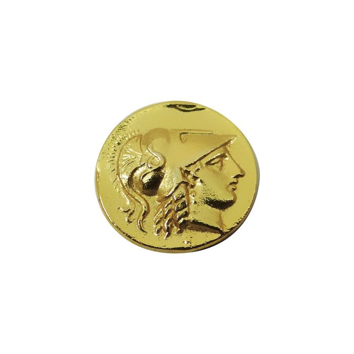 Handmade replica of the ancient gold stater of Alexander the Great (Alexander III of Macedon), dated to 336-323 B.C. The coin depicts the head of Athena. It also bears the inscription ALEXANDROY (ΑΛΕΞΑΝΔΡΟΥ) in the right field. This gold stater from the Kingdom of Macedon was mint in Amphipolis.