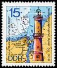 Warnemunde Lighthouse.  1974 German Democratic Republic postage stamp.