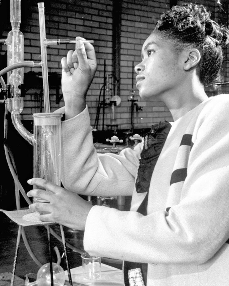 Vintage portraits at historically black Howard University, in 1946. A Howard University student working in the laboratory.