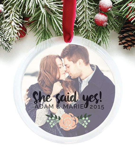 Newly Engaged Gift, Christmas Engagement, She Said Yes, Engagement Ornament, Personalized Photo Gift, Engagement Gift Idea // C-P66-OR XX9