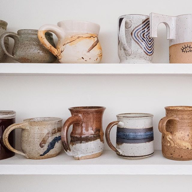 "idea: a collection of mugs from different places you've traveled to / ""Coffee break memories"""