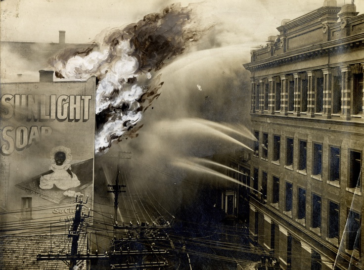 Taken just a year and a few weeks after the Great Toronto Fire of 1904, this dramatic shot of the fire at the Canadian Feather & Mattress Company on Melinda St. just east of Bay Street, illustrates the difficulty that the new taller buildings posed to firefighters. The relatively newly-developed elevator technology of the day allowed building to be built taller than ever before — far outstripping the fire department's ability to propel water!
