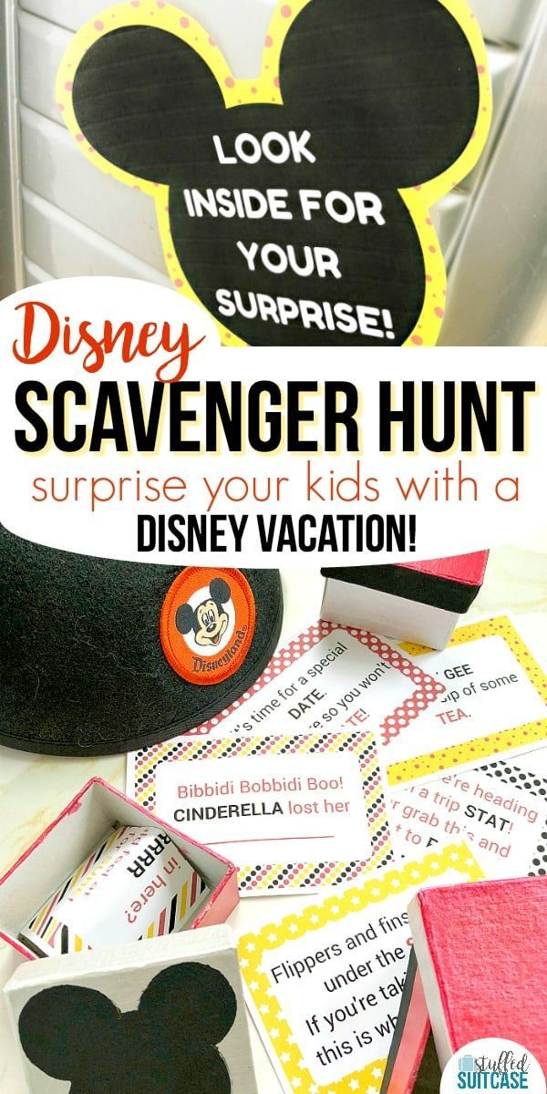 Want to surprise your kids with a trip to Disney? This fun Disney scavenger hunt has printable clues for you to hide and help announce the Disney World or Disneyland vacation! #disney #scavengerhunt