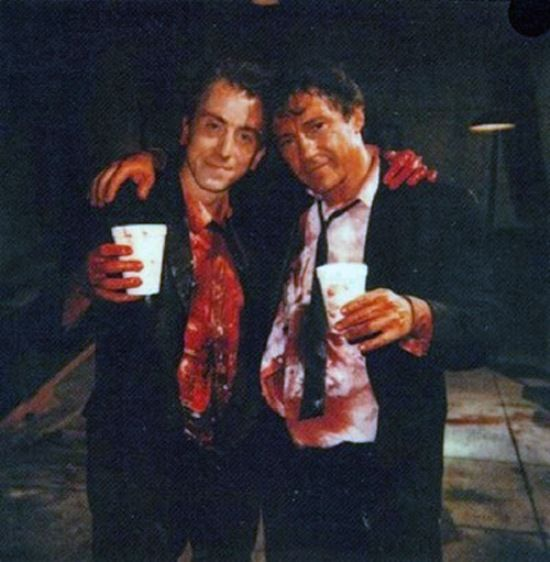 Tim Roth and Harvey Keitel on the Reservoir Dogs set in 1992
