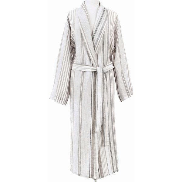 Pine Cone Hill Gradation Linen Robe ($214) ❤ liked on Polyvore featuring intimates, robes, bath robes, long dressing gowns, pine cone hill robe, white robe and long bathrobe