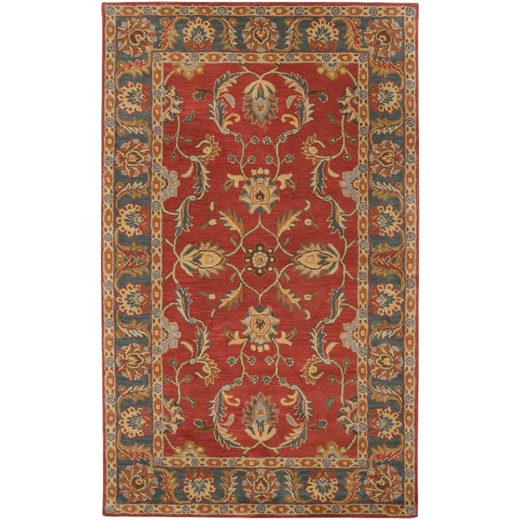 Hand-tufted Coliseum Rust Traditional Border Wool Rug (9' x 12') | Overstock.com Shopping - The Best Deals on 7x9 - 10x14 Rugs