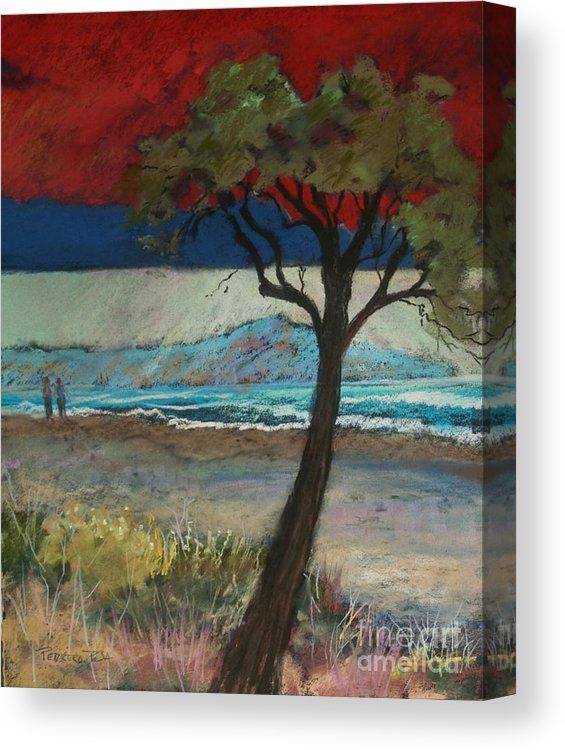 La Playa By Robin Maria Pedrero Canvas Print featuring the pastel La Playa by Robin Maria Pedrero