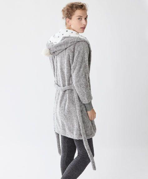 Robe de chambre polaire capuche hibou
