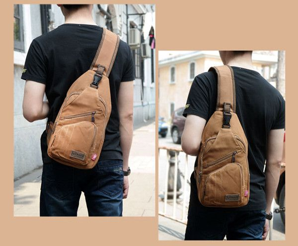 Men Outdoor Canvas Travel Hiking Crossbody Bag Casual Chest Bag