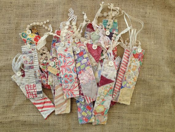 Bookmarks from Vintage Quilt Set of 3 by IttyBittyCottage on Etsy