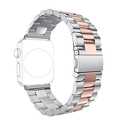 Band for Apple iWatch 38MM Silver/Rose Gold, Rosa Schleife® Apple Watch Band 38 Stainless Steel Metal Replacement Smart Watch Strap Link Bracelet Wrist Band for All Models Apple Watch Sport & Edition Series 3/2/1 38mm (Not Fit 42mm Version): Amazon.co.uk: