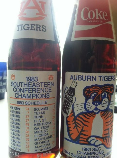 1983 Vintage Auburn Coke bottle   found some of these at goats on the Roof in Tiger Ga and they let me buy one, hubby was so happy!!!!