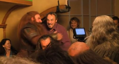 "John-Rhys Davies (Gimli) visited the set of The Hobbit when they were filming a Gloin scene and yelled ""Daddy"". Awesome men are awesome!"