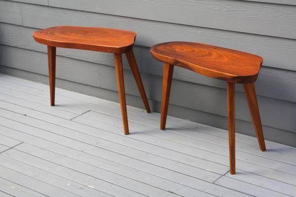Mid Century Wood Slab End Table Pair Monkey Pod Wood Craigslist Abode Pinterest Wood