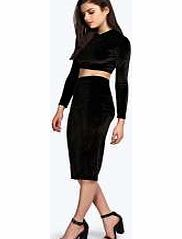boohoo Crop Top And Pencil Skirt Co-Ord Set - black Plush velvet should always come in pairs, so we cant wait to party in this co-ord set . Style it with skyscraper heels , a metallic clutch and hoop earrings . http://www.comparestoreprices.co.uk/skirts/boohoo-crop-top-and-pencil-skirt-co-ord-set--black.asp