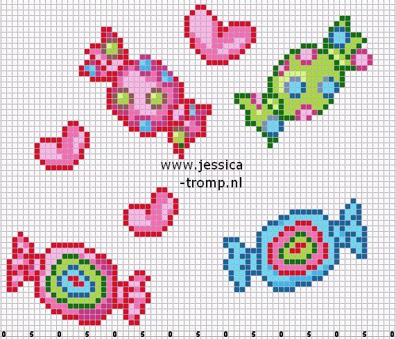 grille point de croix bonbons | grilles point de croix et patrons | Pinterest | Bonbon