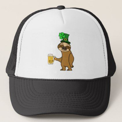 Funny Sloth Drinking Beer St. Patrick's Day Art Trucker Hat - st patricks day gifts Saint Patrick's Day Saint Patrick Ireland irish holiday party