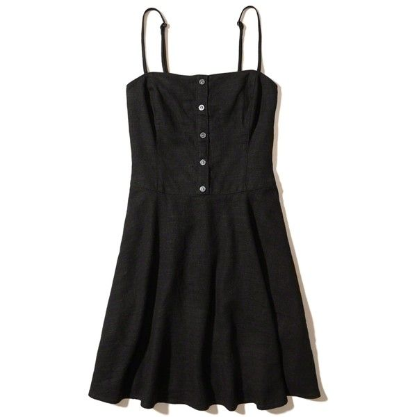 Hollister Button-Front Skater Dress ($50) ❤ liked on Polyvore featuring dresses, black, skater skirt, skater skirt dress, cami dress, strappy skater dress and strap dress