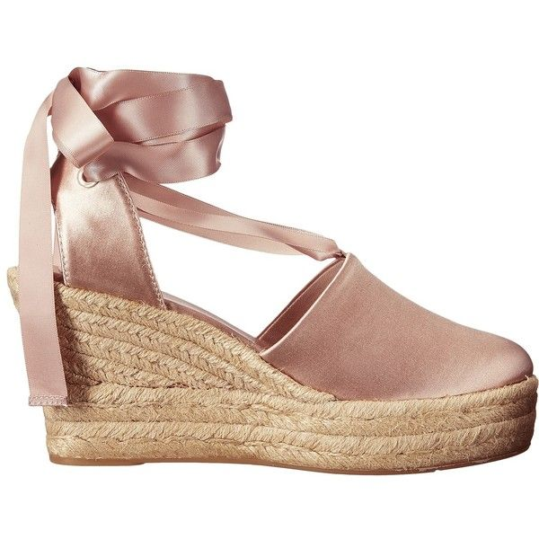 Tory Burch Elisa 90mm Wedge Espadrille (Soy Latte) Women's Wedge Shoes ($328) ❤ liked on Polyvore featuring shoes, sandals, platform sandals, wrap sandals, canvas wedge espadrilles, wedges shoes and platform shoes