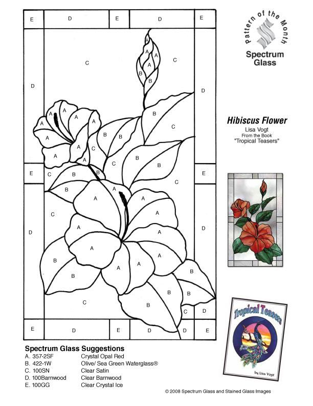 ★ Stained Glass Patterns for FREE ★ Stained Glass Patterns for FREE 008 Hibiscus ★
