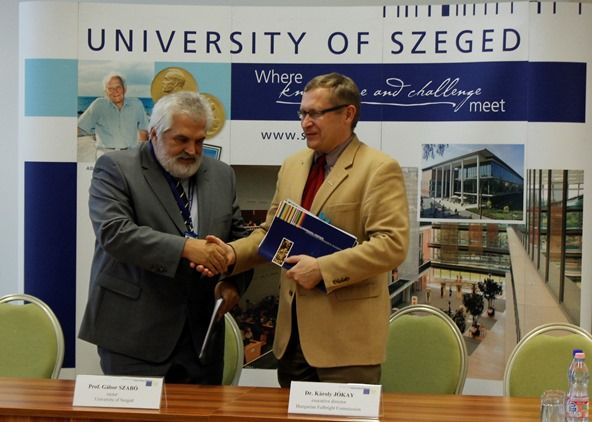 The University of Szeged and Fulbright Hungary signed a joint grant agreement in Szeged on November 10, 2015. Rector Gábor Szabó and Fulbright Director Károly Jókay made brief remarks in a ceremony officiated by Fulbright Alumna Prof. Dr. Katalin Nagy ('02 Sloan-Kettering Cancer Center). The University agreed to support one US scholar per year by sharing in the cost of housing, local and airport transporation, as well as providing office space for visiting US scholars.