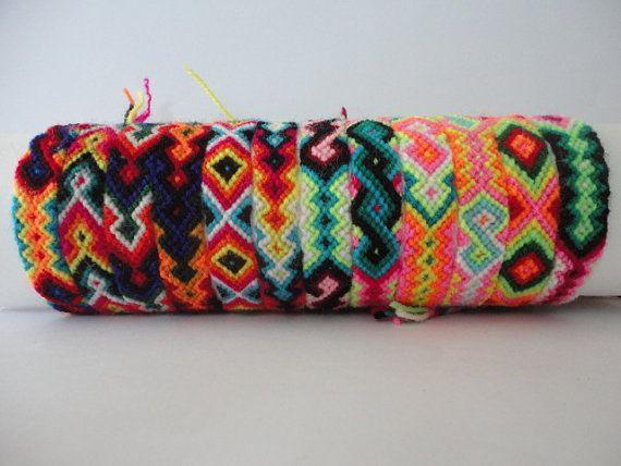 10 Peruvian Wool Friendship Bracelets Handmade Ethnic Mixed Models New Folck Art Peru