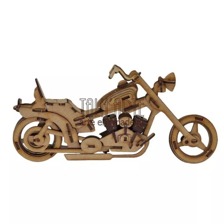 Moto Harley Davidson . Quebra Cabeça 3d. Miniatura Em Mdf - R$ 45,00 no MercadoLivre
