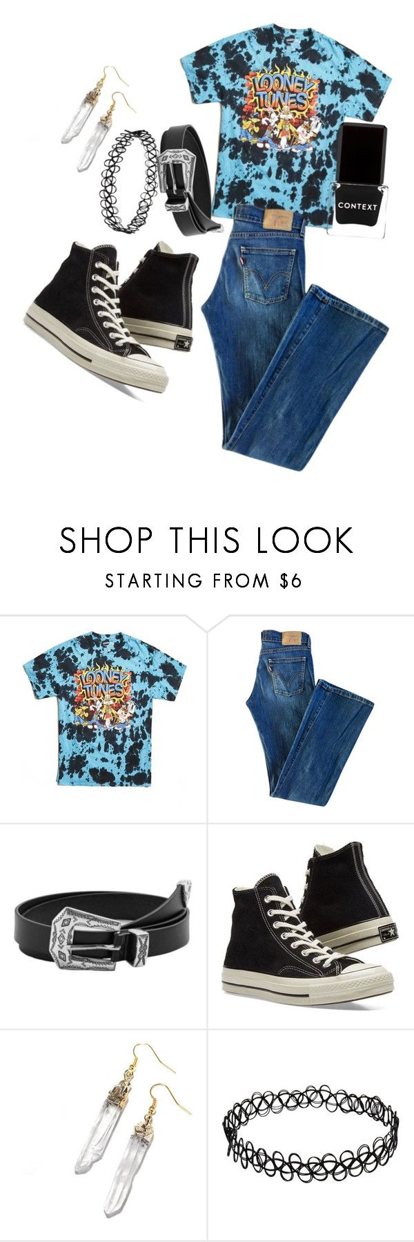 """Rad Looney Tunes Outfit"" by diamondsdokill ❤ liked on Polyvore featuring 21 Men, Levi's, MANGO, Converse and Context"