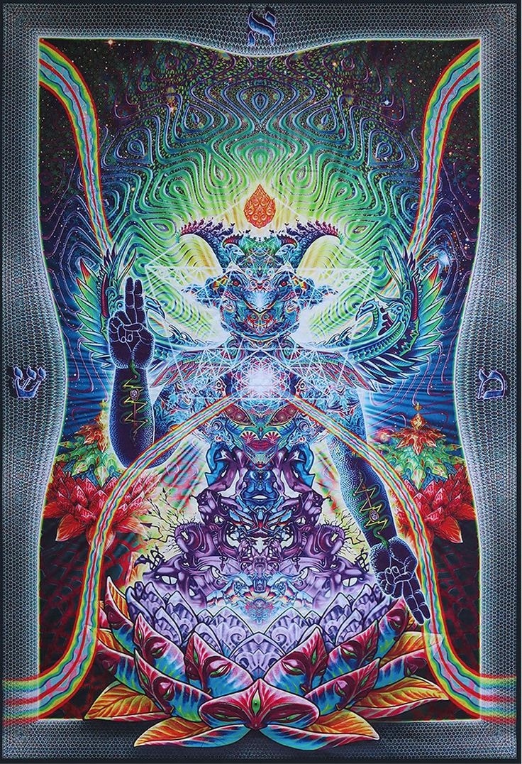 Trippy Tapestries | Trippy wall hanging Psychedelic tapestry 'Baphomet'.