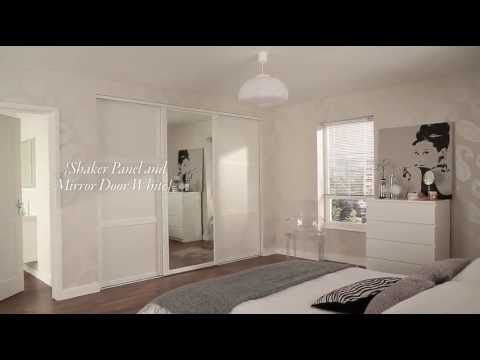 Shaker Panel and Mirror Door White | Sliding Wardrobe Doors | Movies | Howdens Joinery