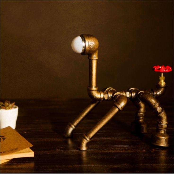 Retro Metal desk lamp Light Novely Dog Style Antique Iron Industrial Water Pipe Tube Desk Lamp Light Led Lamp