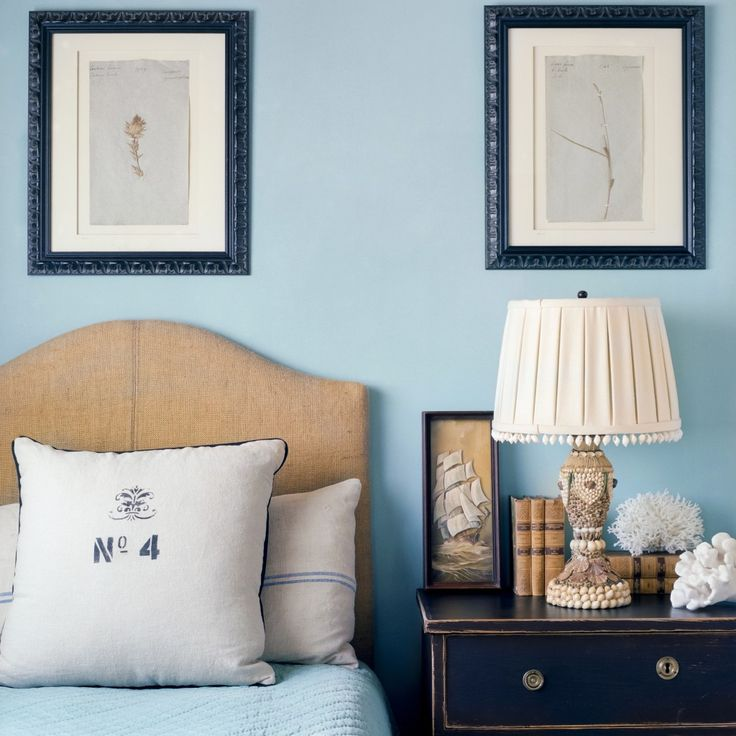giannetti home interior designer los angeles beach coastal transitional bedroom beach fresh blue white neutrals nightstand throw - Beach Bedroom Decorating Ideas