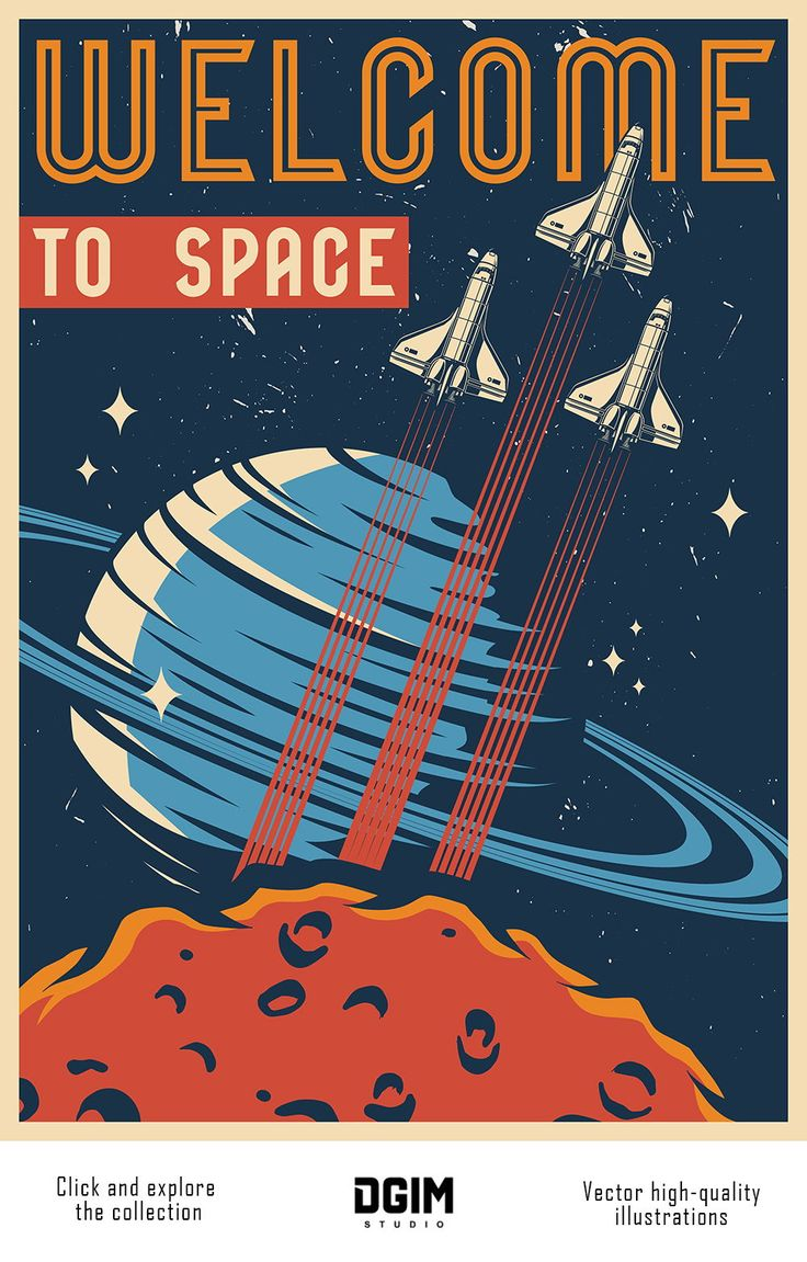 Vintage Space Emblems Set in 2020 Vintage space, Unique
