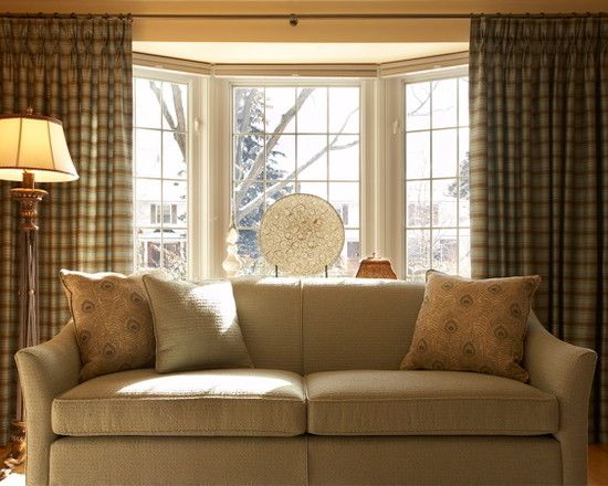 Traditional living room with traditional bay window - Elegant floor lamps for living room ...