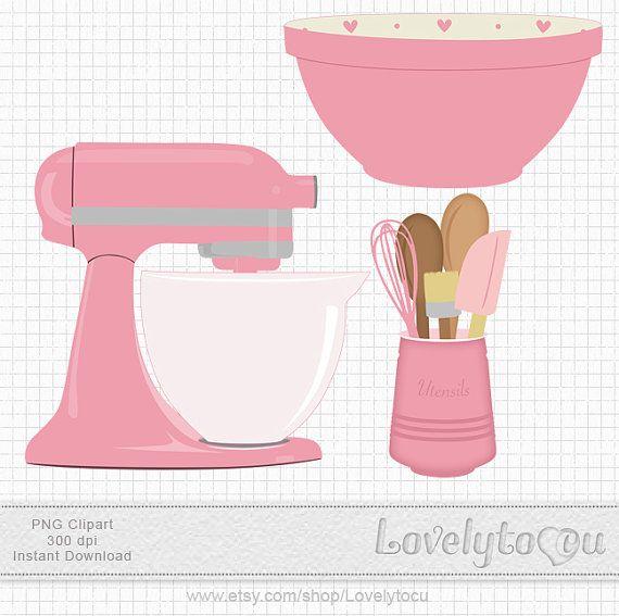 Kitchen Baking clip art set mixer, utensils and bowl, digital PNG clip art (pink 220)