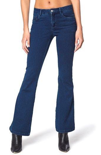 Mega lækre ONLY Jeans Royal kickflare M?rkebl? ONLY Underdele til Outlet i fantastisk kvalitet