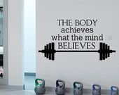 Sport Quote Gym Wall Decals Stickers Motivational Quotes Wall Decor, Sports Wall Decal Christmas Gifts for Men, Sport Decor by FabWallDecals