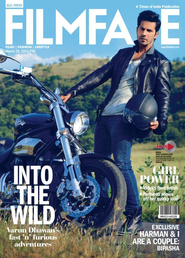 Filmfare - March 26 2014 : Cover on Varun dhawan Varun Dhawan equates acting with sex. Bipasha Basu confesses her love for Harman Baweja. Kalki Koechlin goes retro in our spunky photoplay..