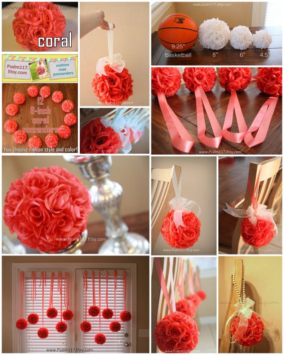 set of 24 - 8 inch wide coral - rose wedding pomanders - RESERVED for Brynn