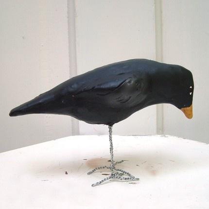 papier mache crow