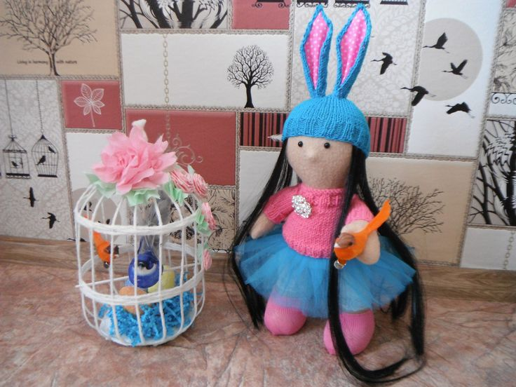 Кукла пасхальный зайчик птица клетка весна