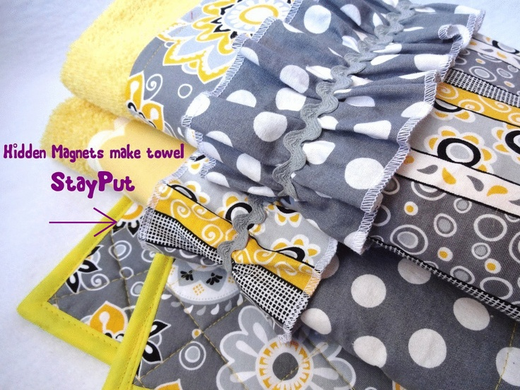 Stay Put Magnetic Hanging Kitchen Towels And Pot Holders Yellow And Grey  Dish Towel. $44.00